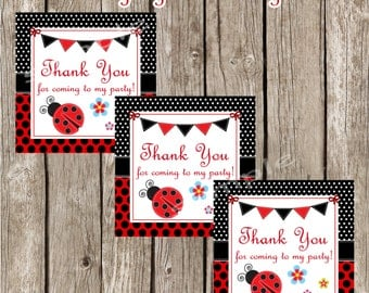 LadybugFavor Tags Loot Bag Decor - Ladybug Birthday Party - DIY Printable *Instant Download*