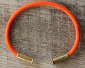 Bullet Casing Bracelet Electric Orange 550 Paracord BRZN