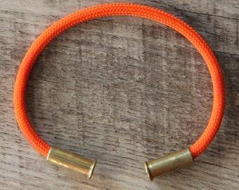 Bullet Casing Bracelet Electric Orange 550 Paracord BRZN