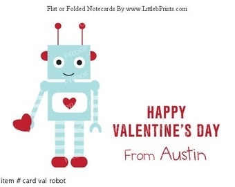 Personalized Blue Robot Valentine Cards set of 10 cards