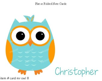 Blue Orange Owl Note Cards Set of 10 personalized flat or folded cards