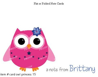 Navy Pink Owl Princess Note Cards Set of 10 personalized flat or folded cards