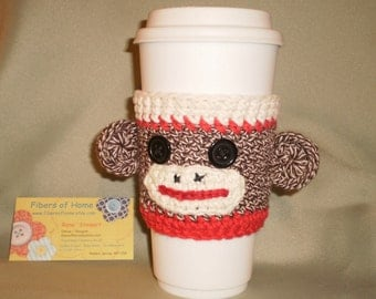 Sock Monkey Coffee Cozy - Red - Hand Crafted