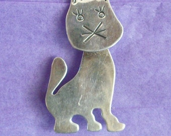 PIN CAT VINTAGE Sterling Silver Large