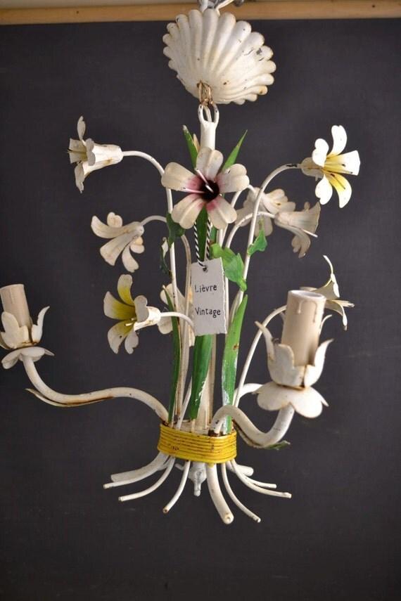 Tole flower chandelier