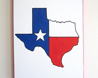 hand painted Texas flag state outline 11X14 canvas