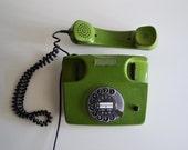 Vintage Siemens Green Phone / Retro Rotary Telephone