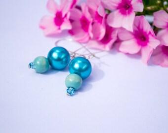 River Drop - Simple Drop Dangle Sky Blue Beads Earrings