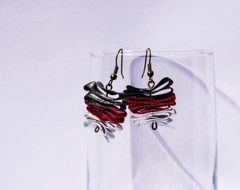 Three Color Butterfly - Free Falling Dangle Ribbon Grey Scarlet Earrings