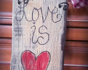 Love is Patient sign. Rustic...Primitive. Pallet board. Hearts.