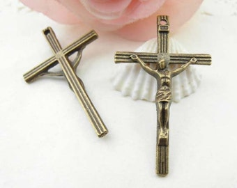 10pcs 25x42mm Antique Brass christian Cross Charms Pendant