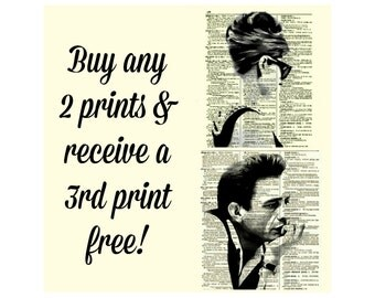 3 Prints For 20 USD Printed On An Antique 1897 Dictionary Pages Wall Decor Dorm Decor