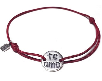 Sterling silver Te Amo Bracelet - cord bracelet with love message - adjustable
