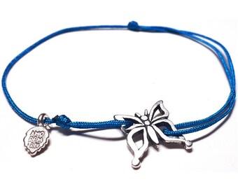 Sterling Silver butterfly cord bracelet