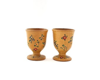 Vintage Egg Cups - Egg Holders - Wooden Egg Cups - Vintage Easter Decorations -Shabby Chic Decor - Country Kitchen Decor -Wooden Egg Holders