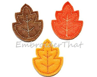 UNCUT Fall leaf felt applique embellishments (4)