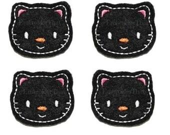 UNCUT Black Cat felt applique embellishments (4)