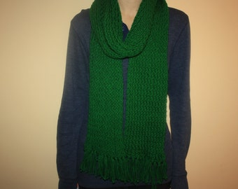 Hand knit bright green knit scarf