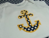 Anchors Away! Nautical Baby Onesie in Navy and Yellow