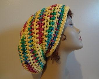 Rasta Hat - Slouchy Cotton Dread Hat - Reggae - Summer Hat - Bright Colors - Handmade - Crochet