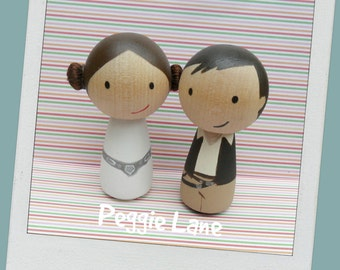 Personalised Hans & Princess Leia inspired Peg Doll wedding cake topper, bride and groom cake topper, geek wedding, Sci-fi topper