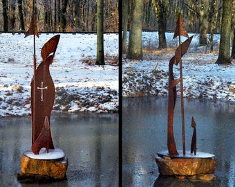 Bishop and Friend, Oxidized Steel Seven-foot Outdoor Sculpture