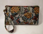 Tapestry Purse / Wristlet  /  Clutch with beaded zipper pull