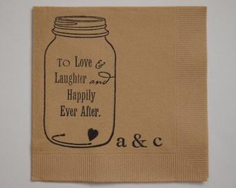 Rustic Love Amp Laughter Mason Jar Wedding Cocktail Napkins Set Of 50
