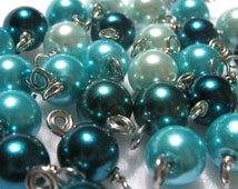 Bead Charms in Turquoise Teal Aqua Ombre Beads - Fun beaded charms for DIY Jewelry - Set 99A