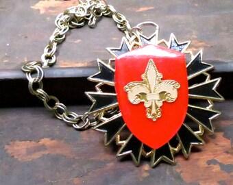 Clearance Sale! Fleur de lis necklace - Parisian statement necklace - Mardi Gras - New Orleans - French Necklace - Paris