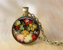 Vintage Flower Pendant Necklace Folk Art Jewelry  Print Photo Pendant  Necklace Gift For Her (147)