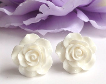 Rose earrings White Flower Post Studs Pinup Rockabilly jewelry handmade Bridal accessories Bridesmaids Wedding