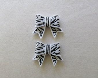"""Zebra 3D Bow, set of 2, Felties,  2.50"""" x 2.00"""""""