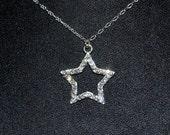 Crystal Open Star Swarovski Charm Pendant Necklace