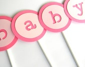 Large Pink BABY Cupcake Toppers