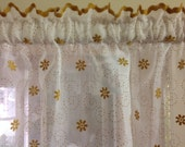 Vintage Valance Sheer with White and  Gold Velvet Trim and Flowers Sheer Valance Window Curtain