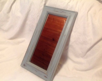 Wooden Framed Mirror Upcycled Light Blue Gray and Distressed