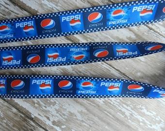 3 Yards of 1 Inch Pepsi Grosgrain Ribbon