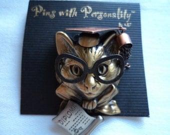 Vintage Signed K&T Diploma Cat  Brooch/Pin