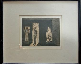 Chiaro di Luna signed vintage 1984 etching by Italian artist Mimmo Paladino