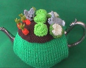 Hand Knit Rabbits in Vegetable Patch Tea Cosy