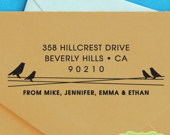 CUSTOM ADDRESS STAMP, personalized pre inked address stamp, pre inked custom address stamp, address stamp with proof - love birds c6-31