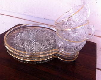 Vintage Glass Snack Set Of 3