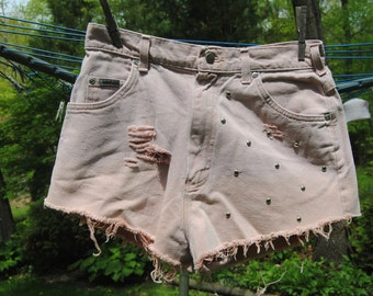 High Waisted Jean Shorts - Destroyed, sStudded, Bleached HANDMADE Size 9/10