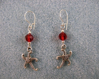 Petite earrings with Tibetan silver starfish and crystal beads