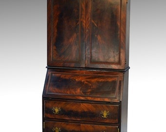 16595 Mahogany Slant Top Bar Cabinet Disguised like a Desk