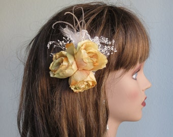 Wedding Accessory Hair Clip Bridal Accessory Hair Flower Clip Feathers lace