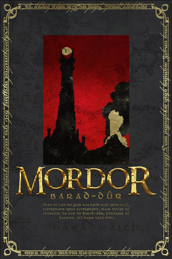 Mordor Travel Poster From Lord Of The Rings And The Hobbit