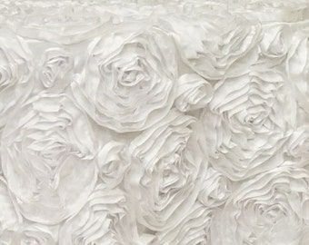 White Satin ROSETTE PHOTO BACKDROP, Select Your Size, Wedding Photo Booth, Photography Background, Ceremony Background