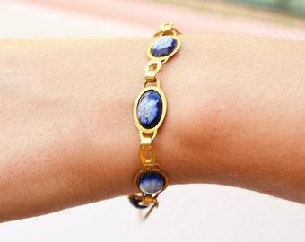 piesas bracelet with blue flowers Vintage